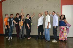 Em 2011, após coletiva de imprensa do sexto Fentepira, no Teatro, com a comissão organizadora do evento. Foto: Rodrigo Alves