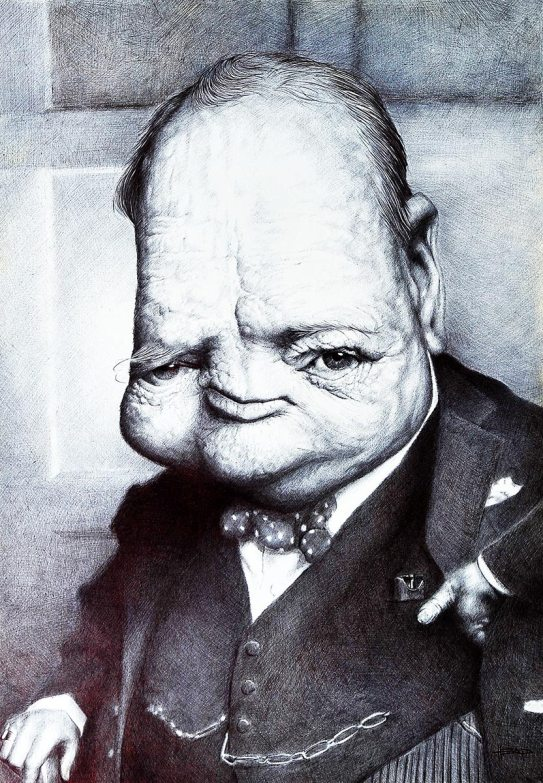 Winston Churchill, caricaturado por Manohead